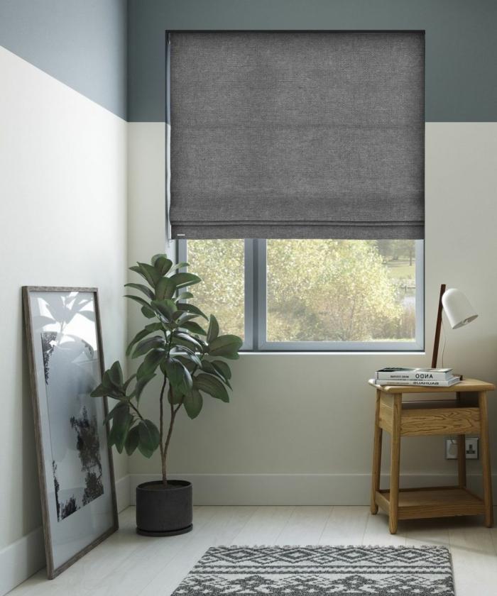 cortinas modernas, estores grises de estilo minimalista, rincón acogedor del salón, con mesilla y planta decorativa
