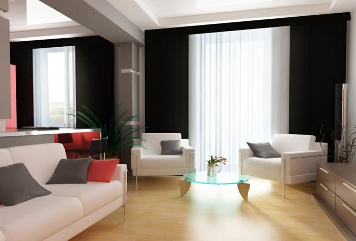cortinas juveniles, visillo blanco adecuado para cada espacio, salón moderno y vasto, muebles en blanco