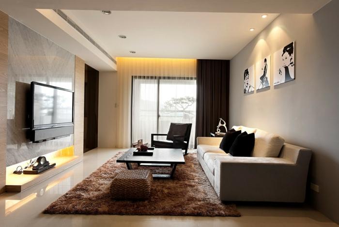 cortinas salon, clásica propuesta en marrón, cortinas que impiden totalmente el paso de la luz, efecto blackout