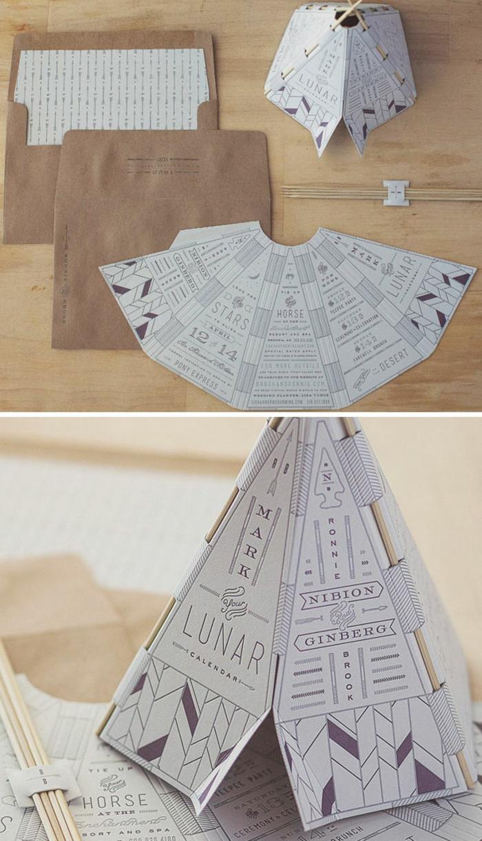 invitaciones de boda vintage, invitación de papel en forma de iglú con palos de madera, sobre papel kraft