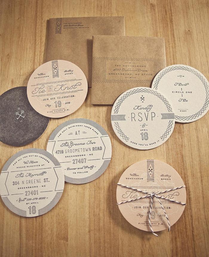 invitaciones de boda vintage, invitaciónde varias partes, círculos de papel Kraft con cuerda