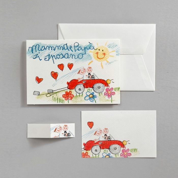 invitaciones de bodas vintage, invitación de boda dibujo de niño con coche, novios y sol, mama y papa se va sa casar