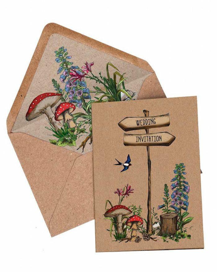 invitaciones de boda vintage, invitación de boda en papel Kraft con dibujos de cuento de colores con setas rojas y flores