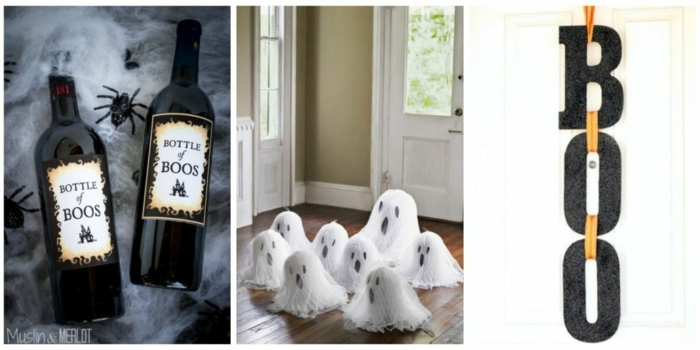 manualidades halloween, botellas de vino con etiquetas caseras, figuras de fantasmas pequеñas en blanco