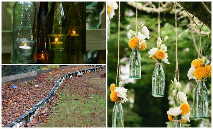 como hacer un jardin, decoracion original con botellas, adornos colgantes llenos de flores, velas pequeñas puestas en botellas de vidrio