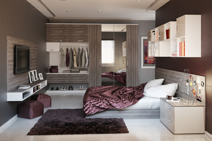 1001 ideas sobre decoraci n dormitorios estilo moderno - Alfombra morada ...