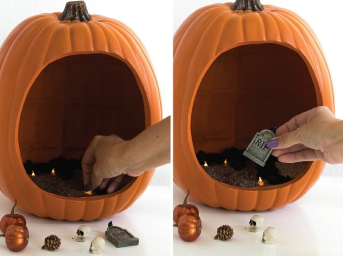 manualidades halloween, como hacer rellenar una calabaza decorativa de figuras de halloween, calabazas doradas, calaveras