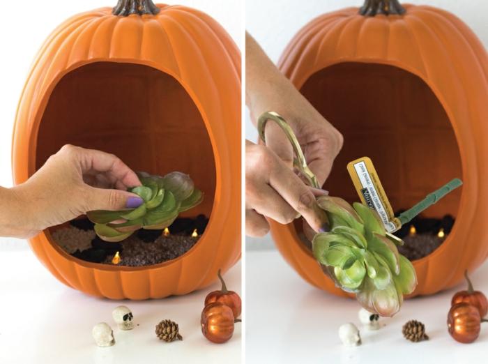 manualidades halloween, decoración original para tu fiesta, planta artificial, pequeñas figuras temáticas