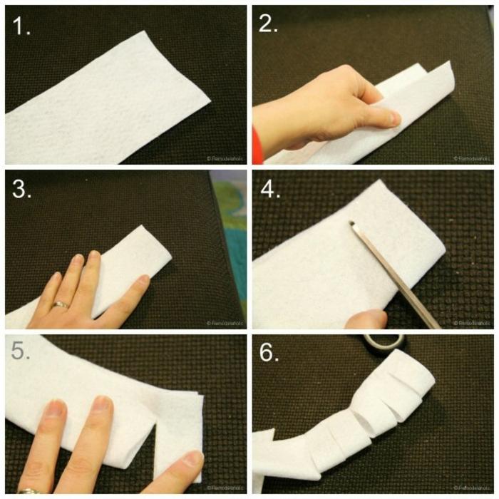 guirnaldas de navidad, tutorial paso a paso para hacer corona navideña blanca, como cortar tela blanca