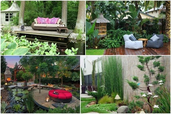 diseño de jardines, cuatro propuestas para tu jardín de relax y confort, ideas de muebles sacados en el patio, plataformas de madera modernas