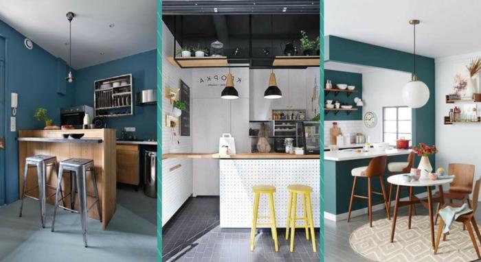 cocinas pequeñas alargadas con islas americanas, sillas de barra, paredes colores azul y verde intensos y muebles de madera