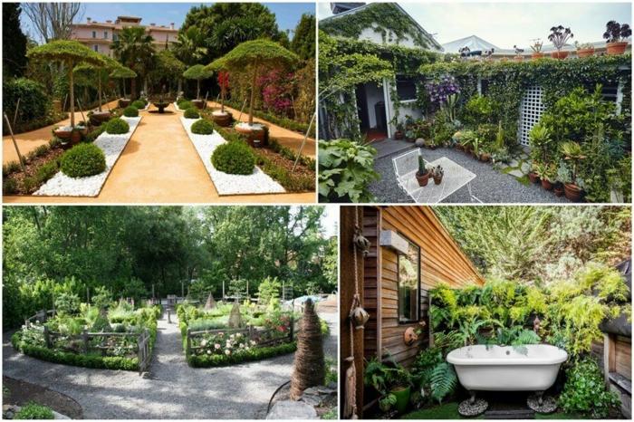 decoracion patios, cuatro tipos de decoracion para tu jardín, mucha vegetación, árboles originales en forma de sombrilla