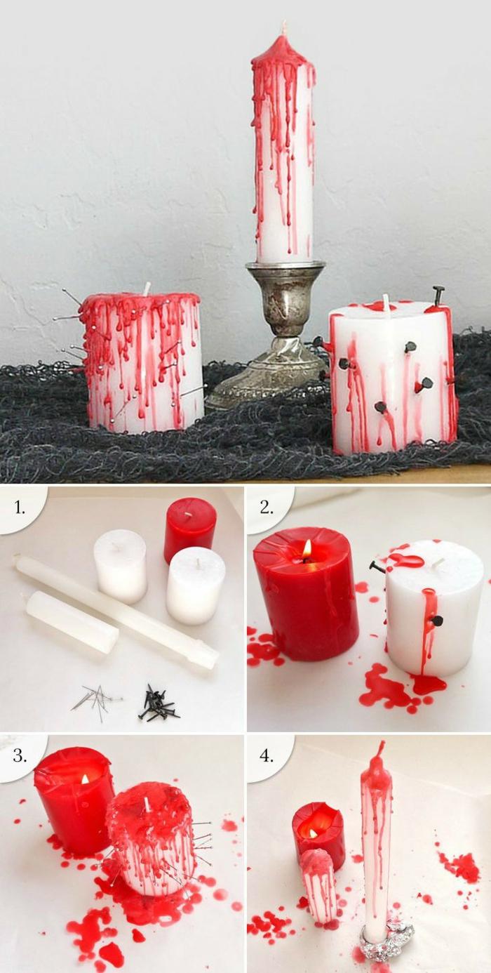 manualidades de halloween, velas decorativas con efecto sangriento, adornos DIY fáciles de hacer