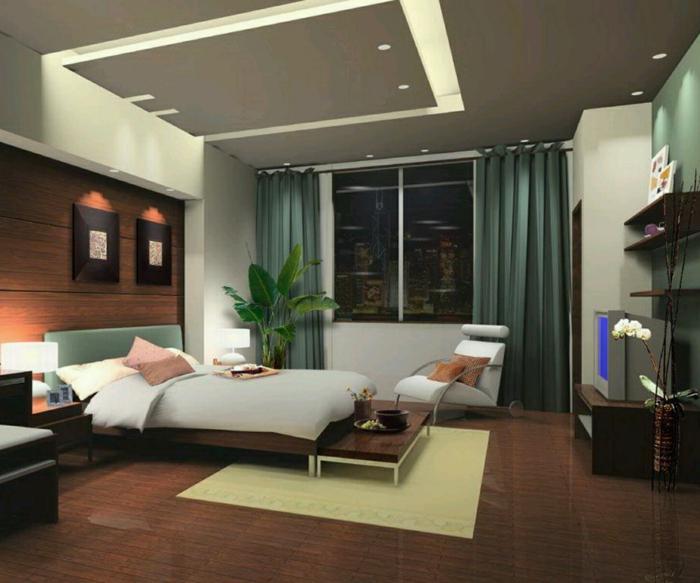 decoracion dormitorios, dormitorio con pared de madera, cama doble y planta verde, cortinas verde pastel, alfombra amarilla