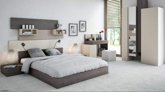 como pintar una habitacion, dormitorio en beige y gris, luz natural, cama doble con lámparas para leer