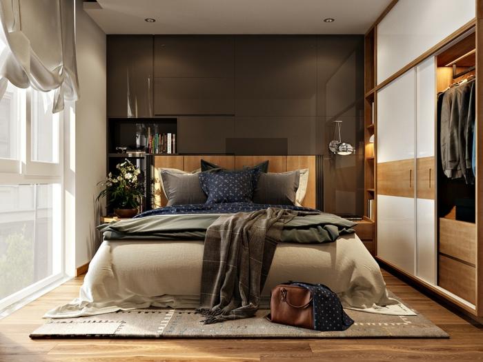 habitaciones de matrimonio, habitación en beige y marrón, ventanal con cortina, armario grande, cama doble sobre tapete