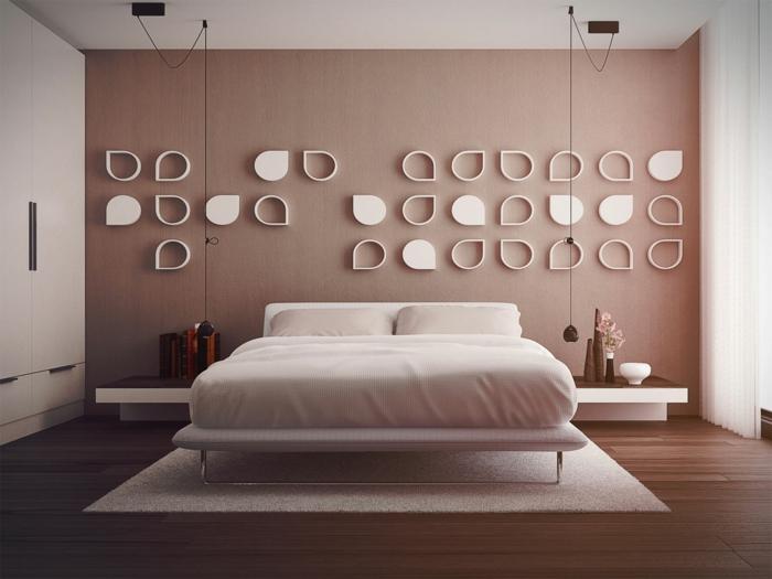 habitaciones de matrimonio, dormitorio en rosado con armario integrado, cama doble, pared de madera, lámparas colgantes