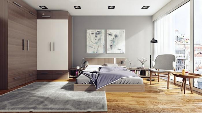 habitaciones de matrimonio, dormitorio grande con mucha luz, armario de madera oscura, cama doble y tapete