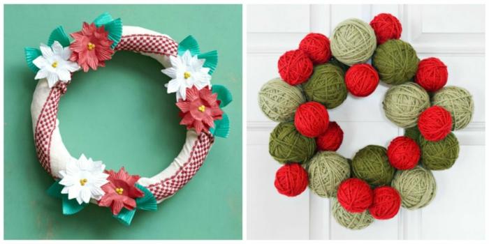 decoracion navideña casera, dos tipos de coronas navideñas, corona de tela decorada con flores, corona de bolas de hilo