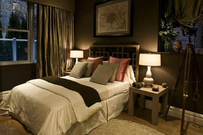 dormitorios modernos, dormitorio con cama doble, mesillas de noche, ventanal y cortinas, luz de lámparas