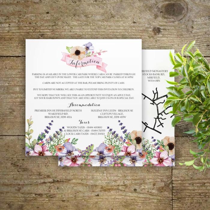 bodas originales, invitaciones de boda en blanco con ecoración de flores multicolor