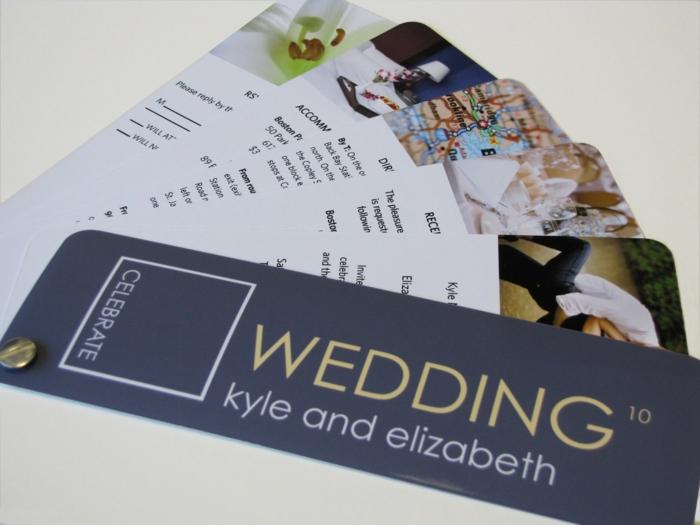 bodas originales, invitación de boda como folleto con hojas de mapa, alojamiento y respuesta en azul y blanco
