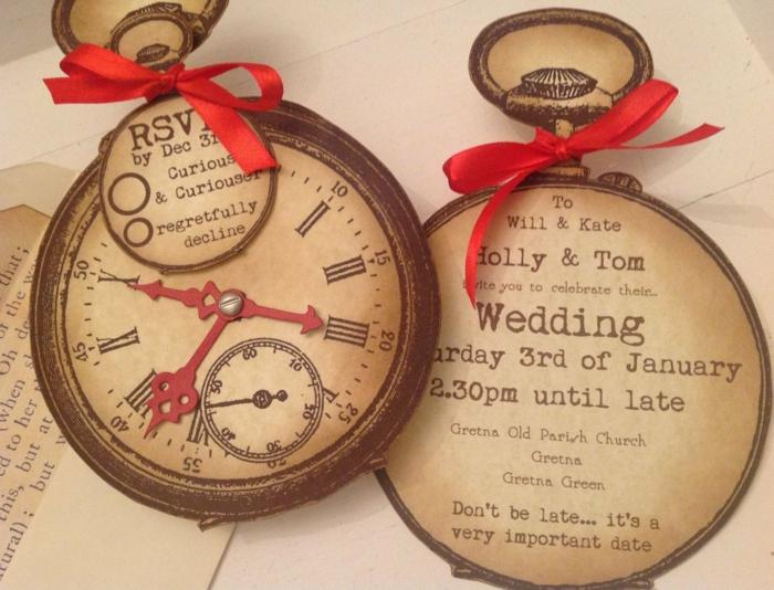 1001 ideas de invitaciones de boda originales para tu d a - Relojes originales de pared ...