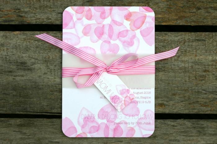 cosas de boda, invitación de boda en rosa con corazones y cinta rayada, efecto acuarela