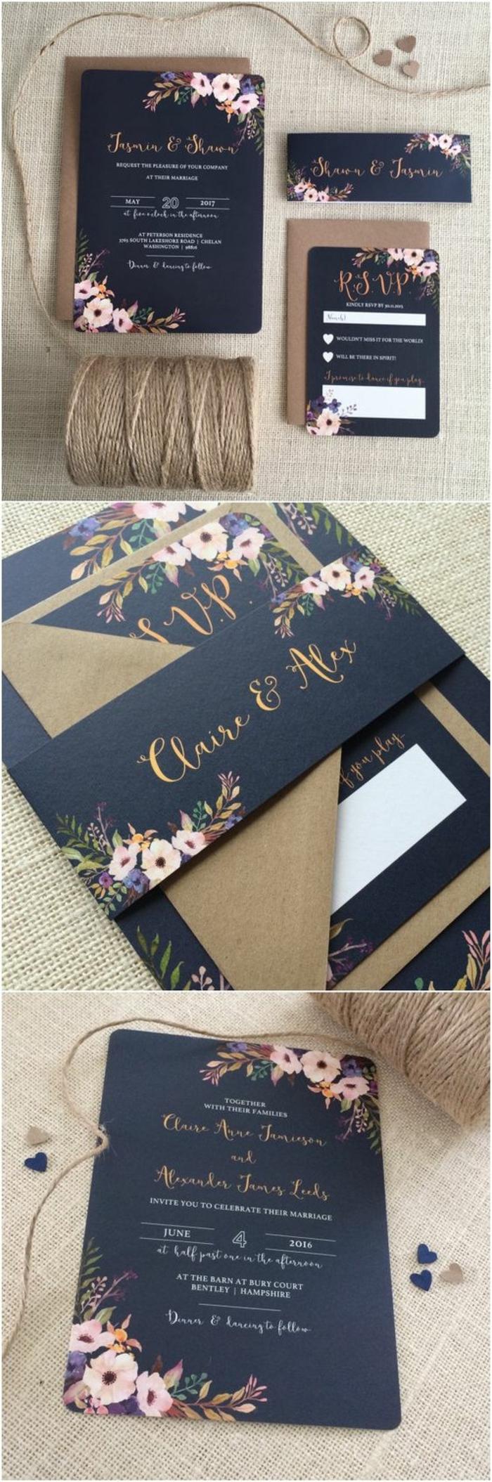 invitaciones de boda vintage, invitación de boda en azul oscuro con letras en dorado, decoración con flores y sobre de papel kraft