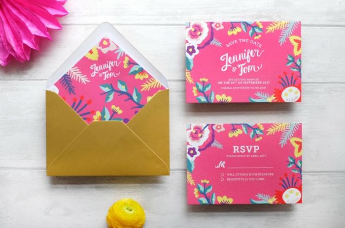 invitaciones boda, invitaciones en rosado con sobre amarillo, decoración con flores estilizadas
