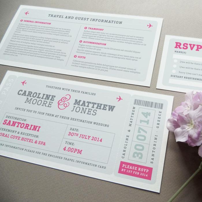 cosas de boda, invitación de boda en santorini gris y rosado como pase de abordar