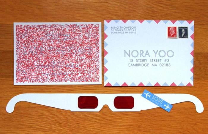 invitaciones de boda vintage, invitación de boda con gafas y papel decodificador en rojo, sobre regular EEUU