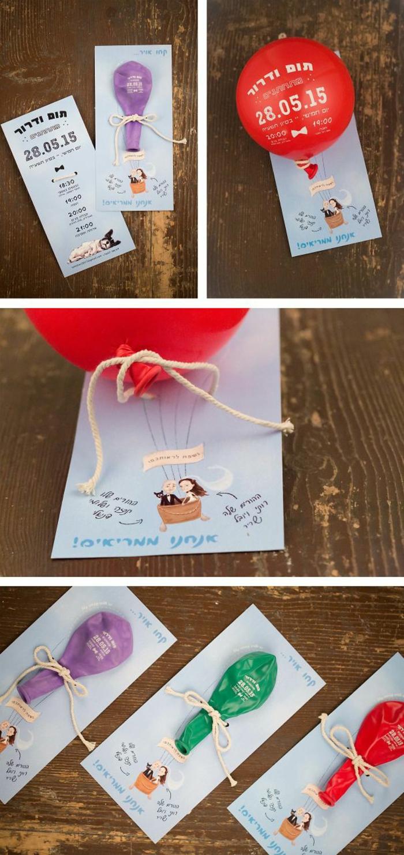 invitaciones creativas, invitación de boda con papel y globo inflable en morado, verde y rojo
