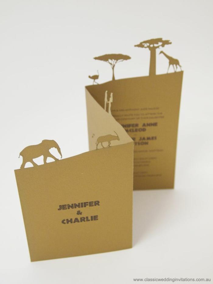 invitaciones de boda vintage, invitación de papel kraft con árboles de sábana, elefante y girafa
