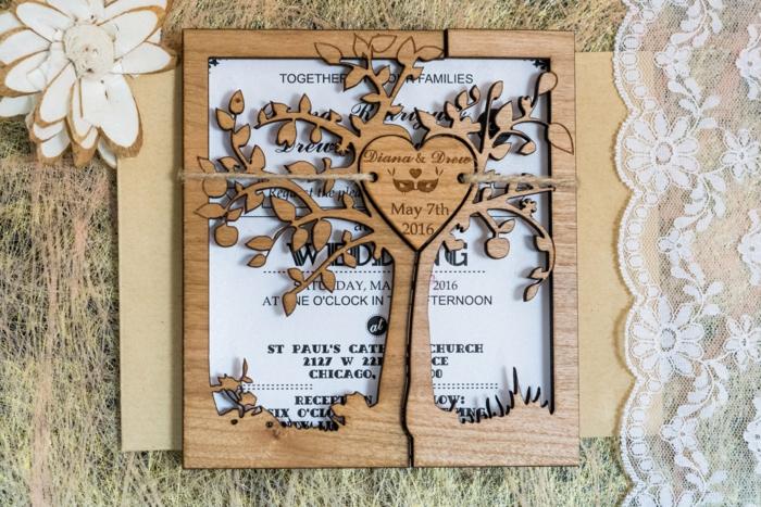 cosas de boda, invitación de boda de papel en marco de madera con árbol y corazón, encaje blanco