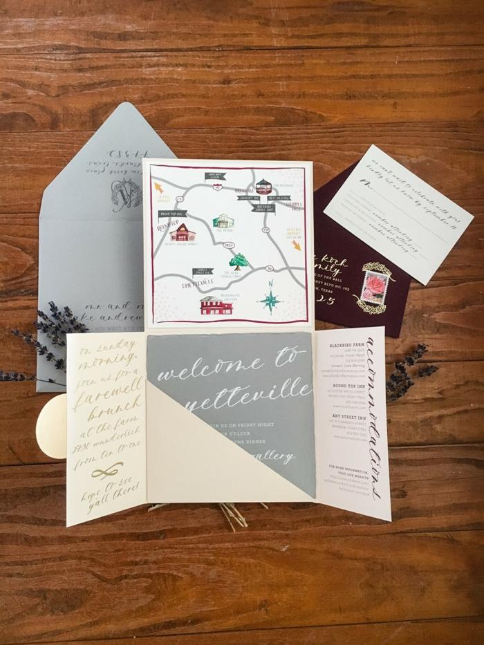 cosas de boda, invitación de boda plegable de cartón con mapa y sobre gris