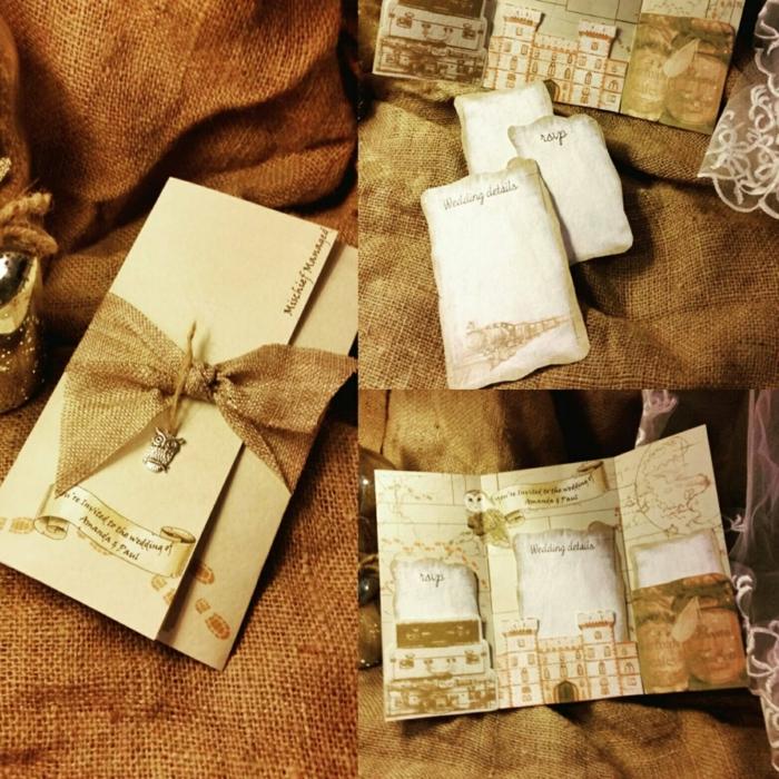 invitaciones boda, invitación de boda vintage plegable con lazo de apillera