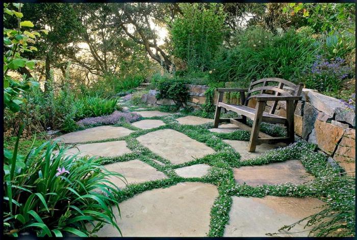 jardines con piedras, banco de madera viejo, jardín grande de diferentes tipos de arbustos