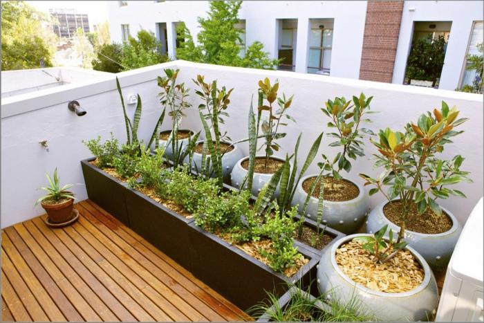 macetas grandes, decoración de balcón con suelo de tarima, macetas grandes rectangulares y redondas con plantas verdes