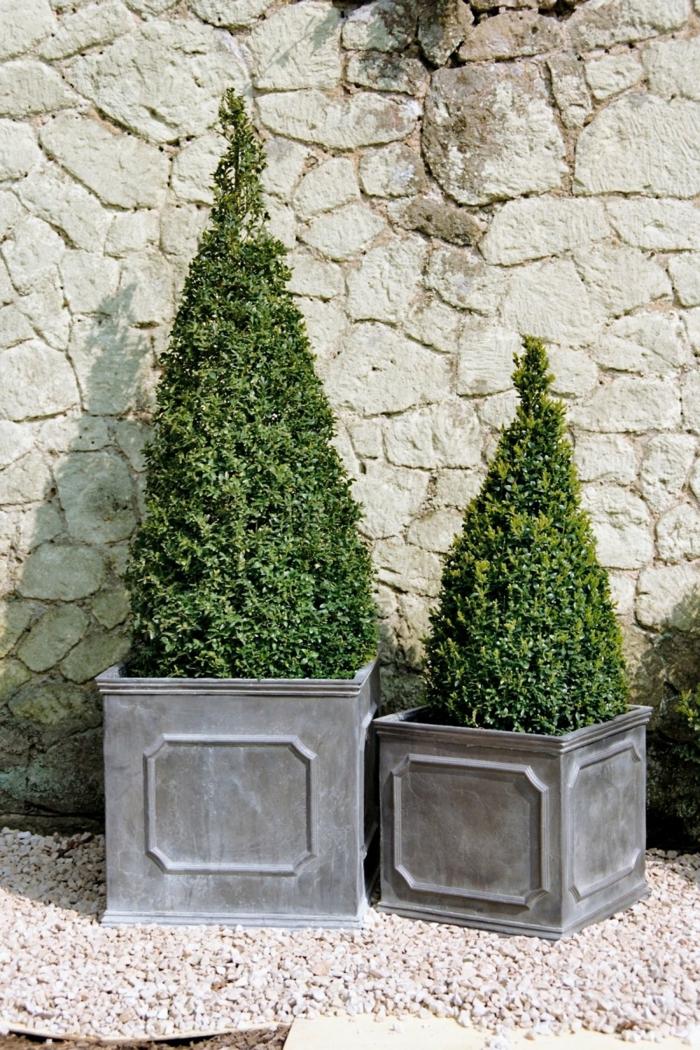 maceteros originales, decoración jardín, suelo con gravilla, macetas bajas cuadradas con junípero, muro de piedra