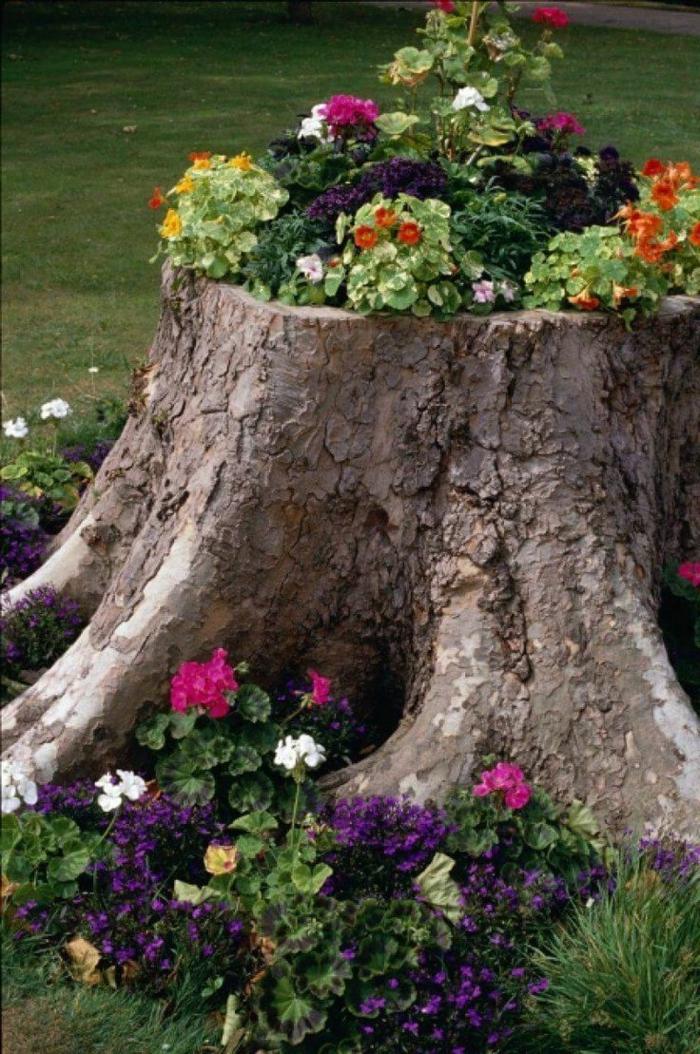 jardineras de madera, idea original decoración, tocón de árbol grande convertido en macetero con petunias y geranios