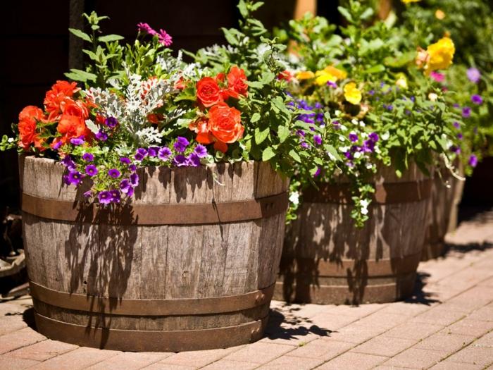 jardineras de madera, patio con grandes macetas de barriles de vino reciclados, suelo de baldosas, flores en púrpura, naranja y amarillo