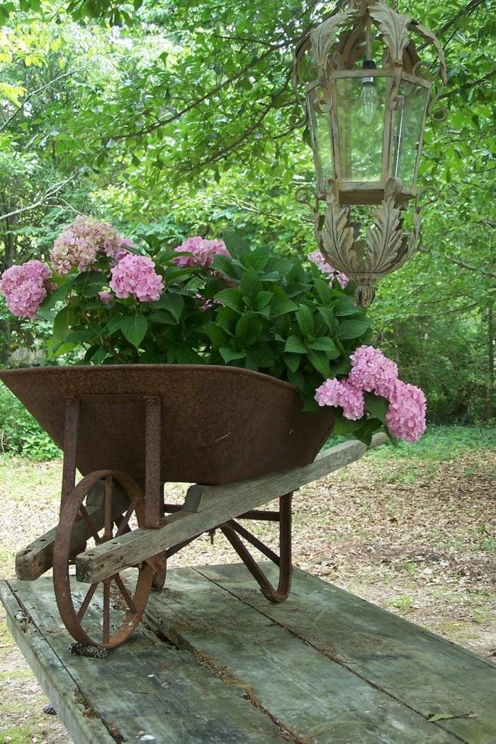 macetas, idea original de macetero hecho con carrito jardinero viejo, hortensias rosadas y linterna vintage