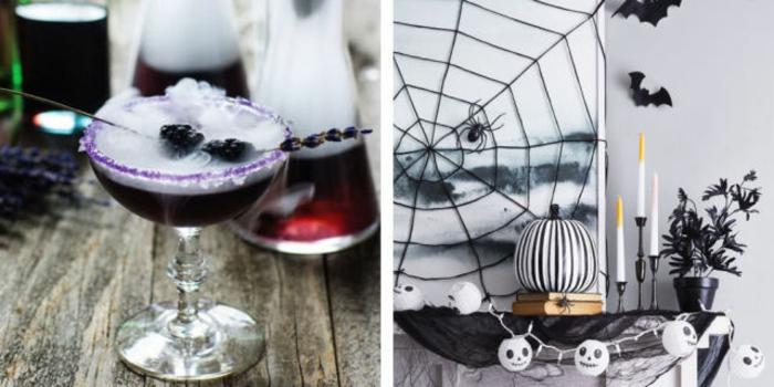 adornos halloween, decoración exquisita en blanco, negro y lila, telaraña artificial para la pared, calabaza en rayas de blanco y negro, bombillas con caras de fantasmas