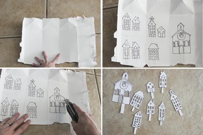 decoracion navideña manualidades, tutorial como cortar figuras de cartón blanco, decoracion para corona navideña casera