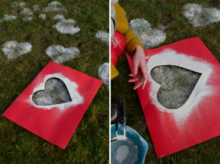 regalos san valentin, decoración de jardín romántico con corazones blancos en el césped, plantilla y spray blanco