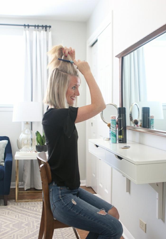 semirecogidos con trenzas, mujer con cabello corto, tutorial para hacer semirecogido con moño y volumen