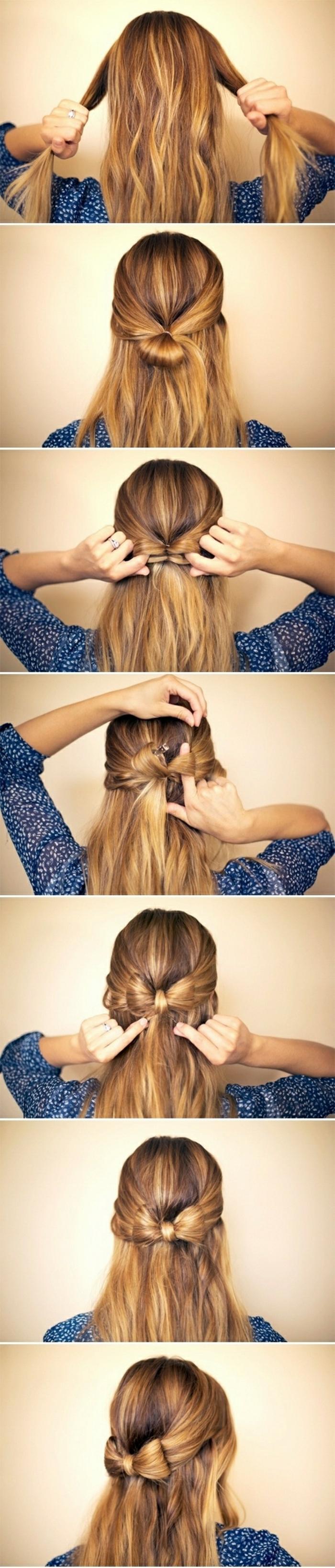 semirecogidos fáciles, mujer con pelo largo, tutorial para semirecogido con mechones unidos por detrás en moño con forma de lazo