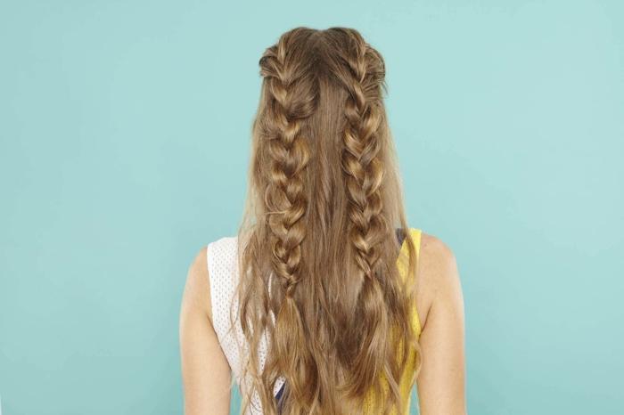 semirecogidos, mujer de espaldas, pelo castaño largo, semirecogido con dos grandes trenzas voluminosas que caen libremente
