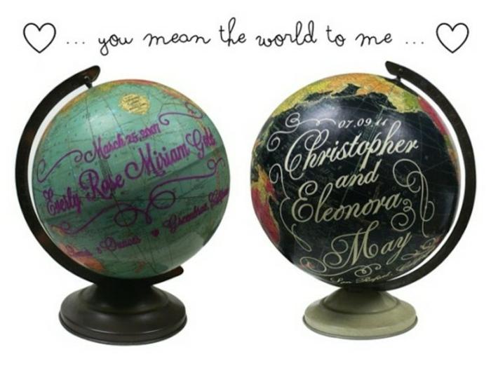 regalos romanticos, idea san valentin, globo terráqueo con mensaje de amor para novios, tu neres mi mundo